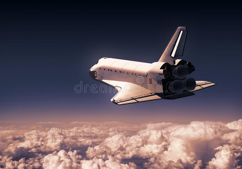 Space Shuttle Over Red Clouds. 3D Illustration royalty free illustration