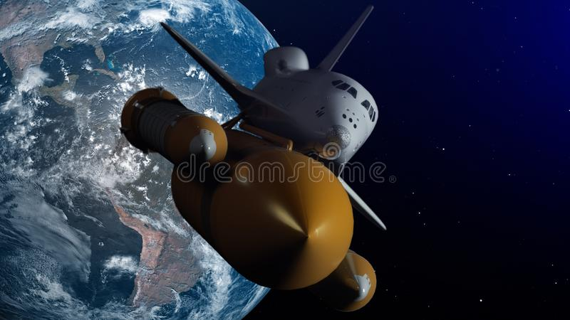 Space Shuttle In Space. Planet earth on background. 3D Illustration.  vector illustration