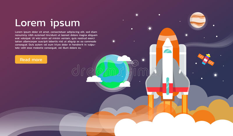Space shuttle and planet in space infographic flat design stock illustration