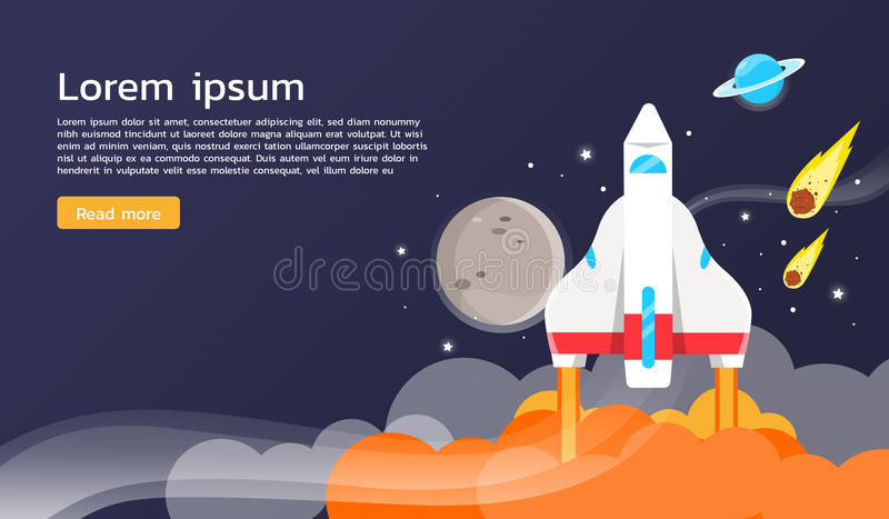 Space shuttle and planets illustration and graphic design stock illustration