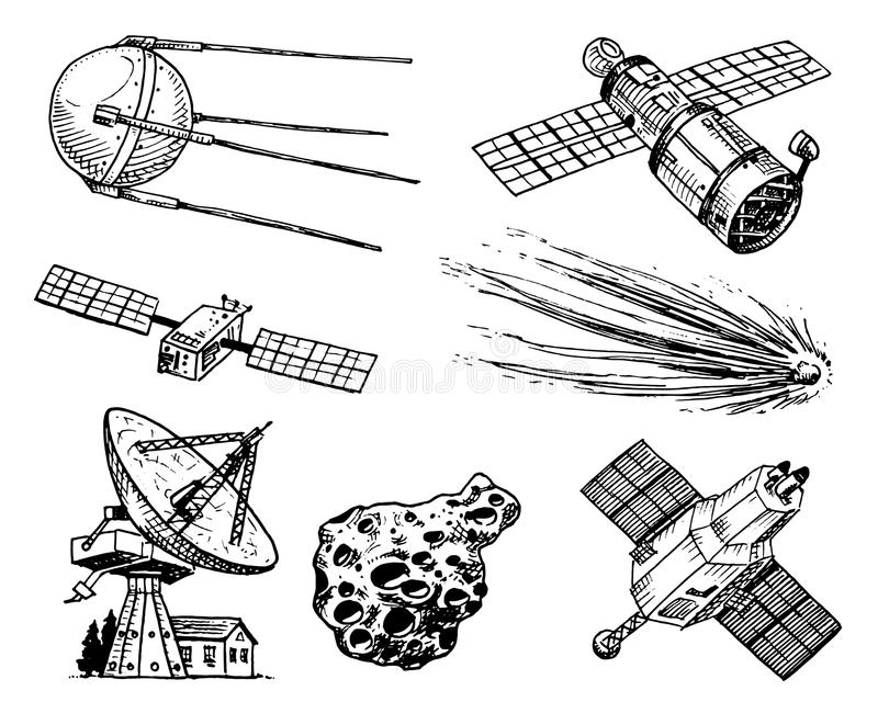 Space shuttle, radio telescope and comet, asteroid and meteorite, astronaut exploration. engraved hand drawn in old vector illustration