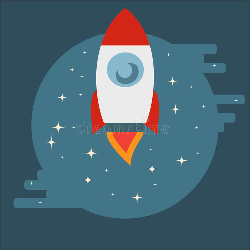 Space Shuttle Rocket in circle in flat style. Space Shuttle Rocket among stars in circle in flat style vector illustration