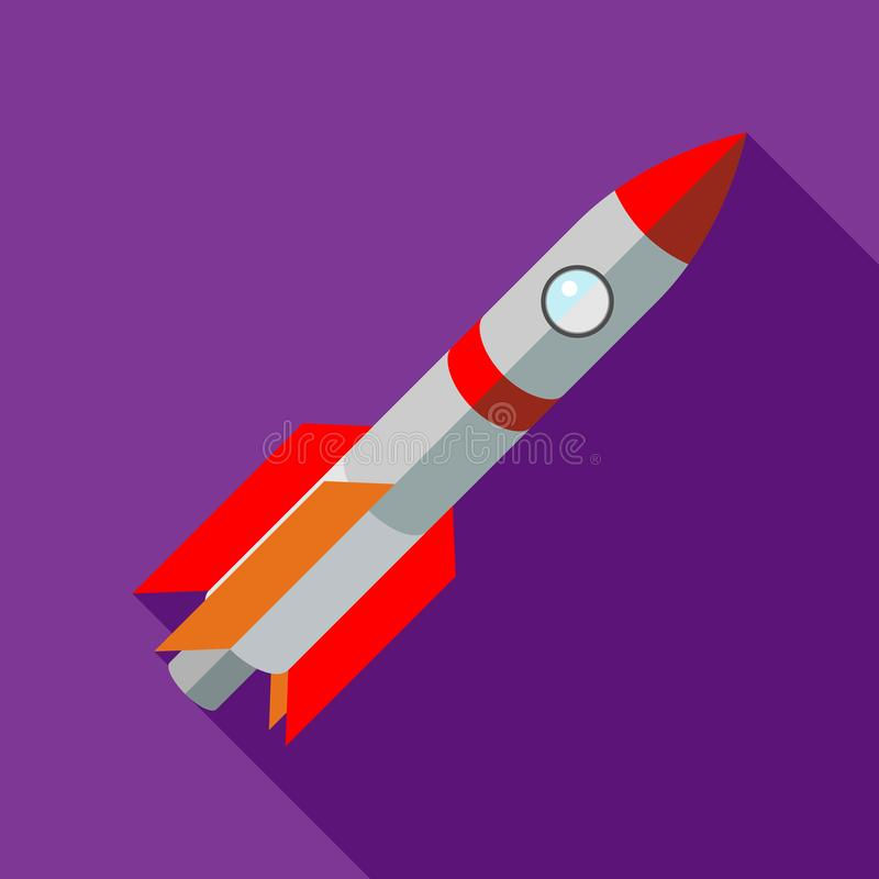 Space shuttle rocket launch icon, flat style royalty free illustration