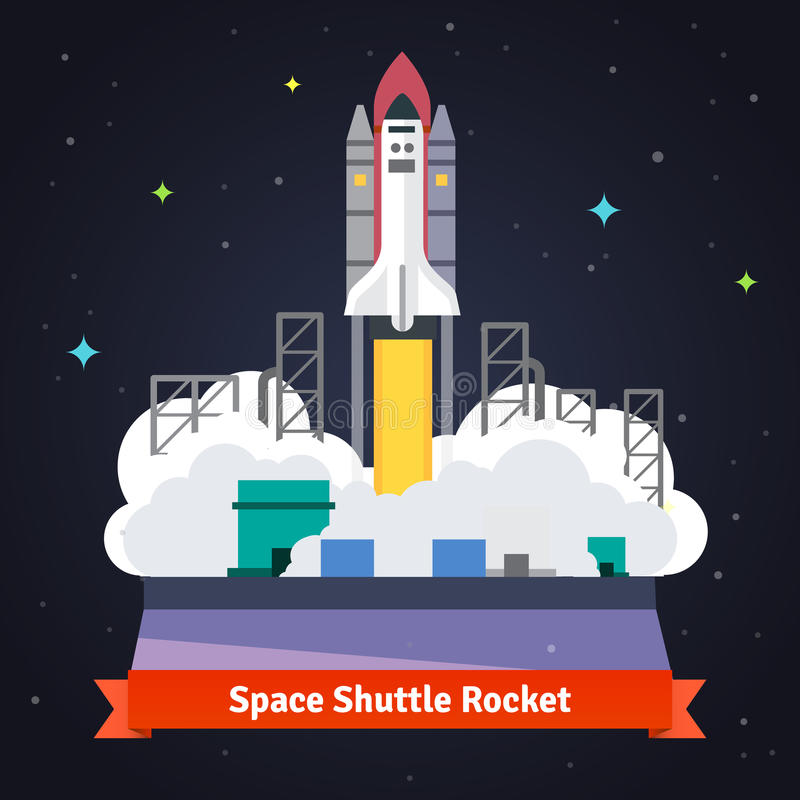 Space shuttle rocket launch from spaceport vector illustration