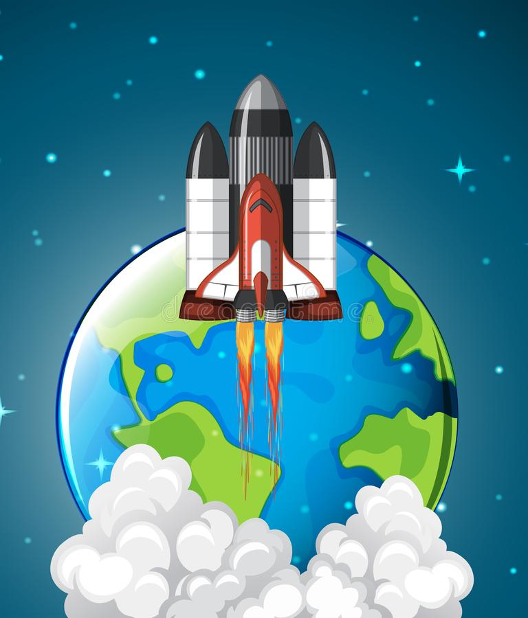 A space shuttle rocket leaving earth royalty free illustration
