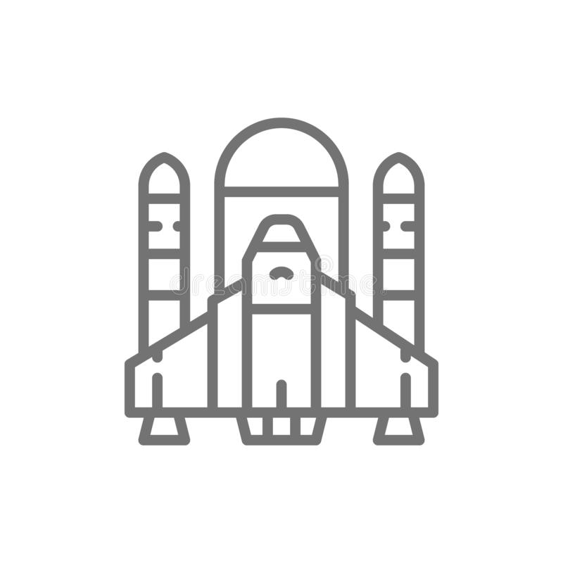 Space shuttle, rockets, airplane line icon. royalty free illustration