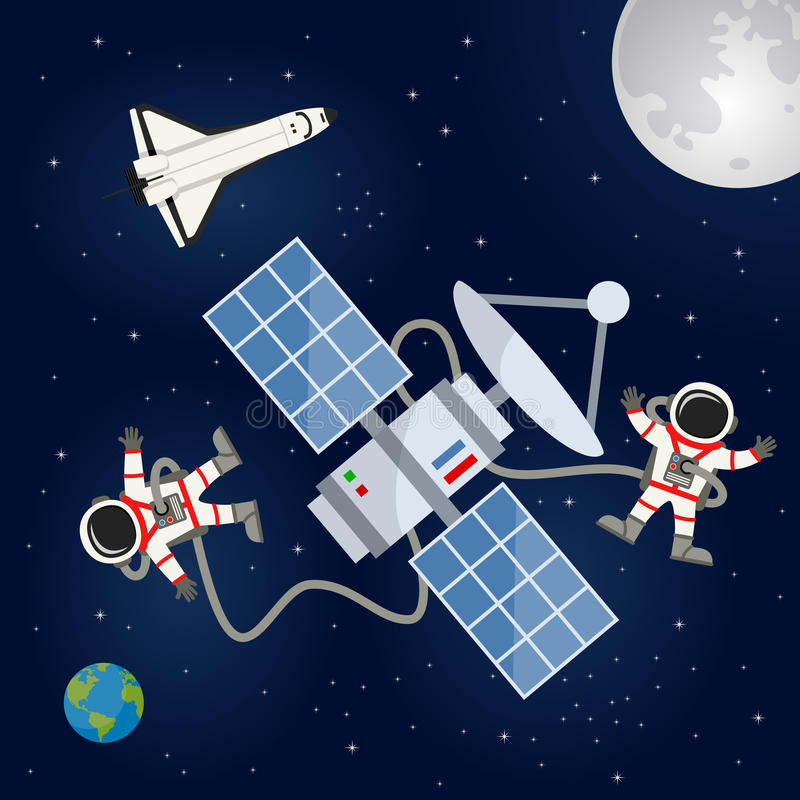 Space Shuttle, Satellite & Astronauts. Two astronauts floating and working on a satellite in the outer space with Planet Earth, the Moon and a shuttle floating stock illustration