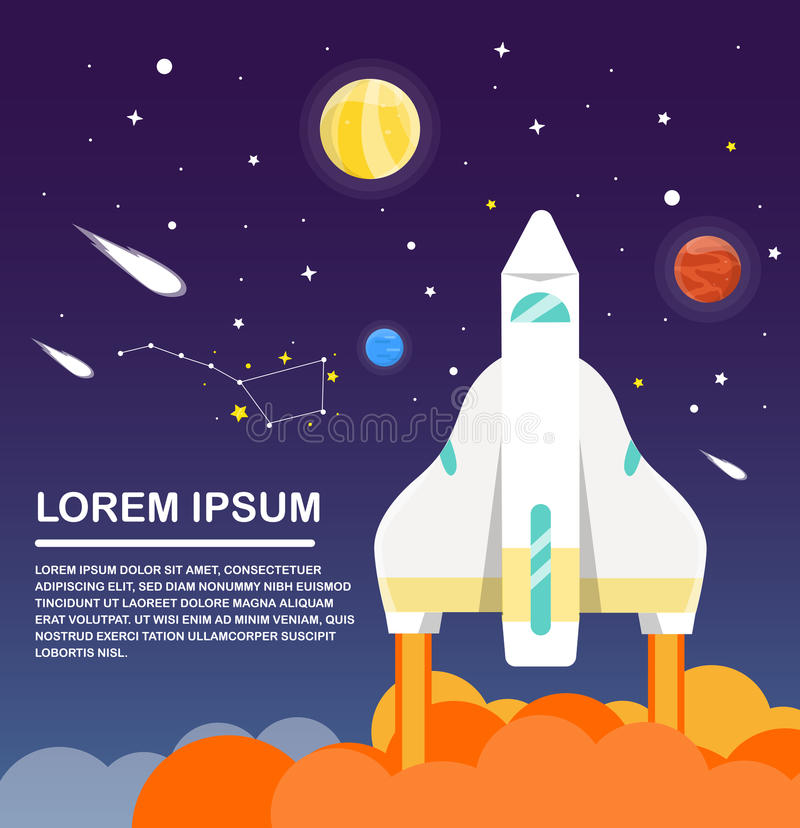 Space shuttle and solar system Infographics Flat design. Vector stock illustration