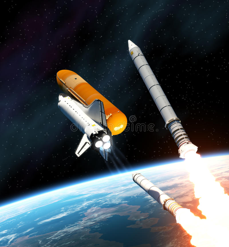 Space Shuttle Solid Rocket Busters Detached. 3D Scene royalty free illustration