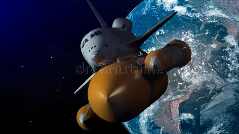 Space Shuttle In Space. Planet earth on background. 3d illustration.  royalty free illustration