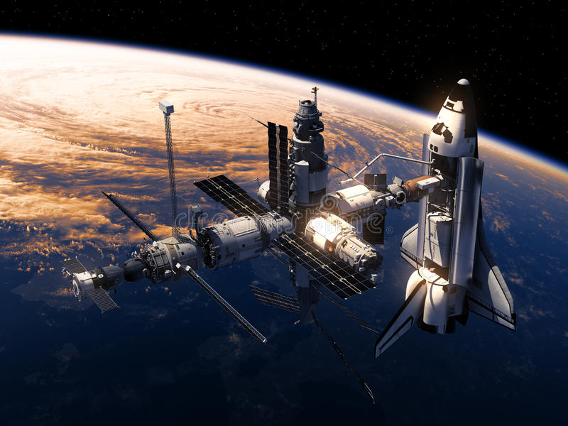 Space Shuttle And Space Station Orbiting Earth. 3D Illustration stock illustration