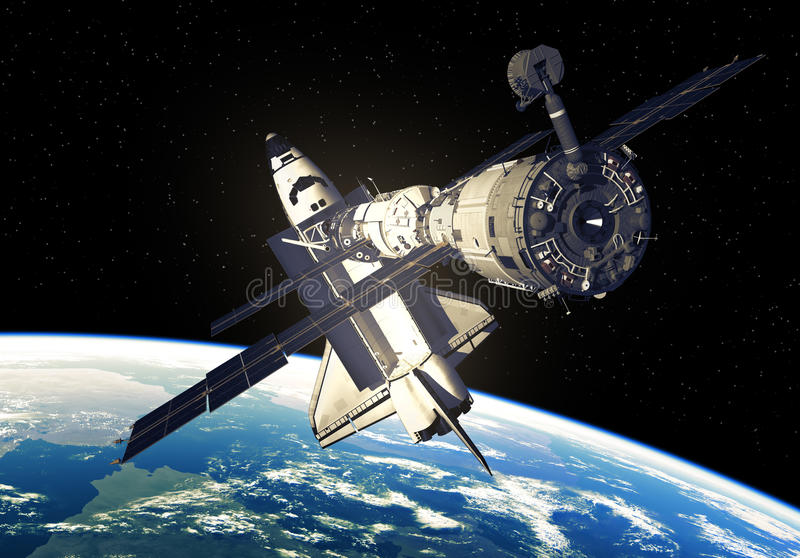 Space Shuttle And Space Station Over The Earth. 3D Illustration vector illustration