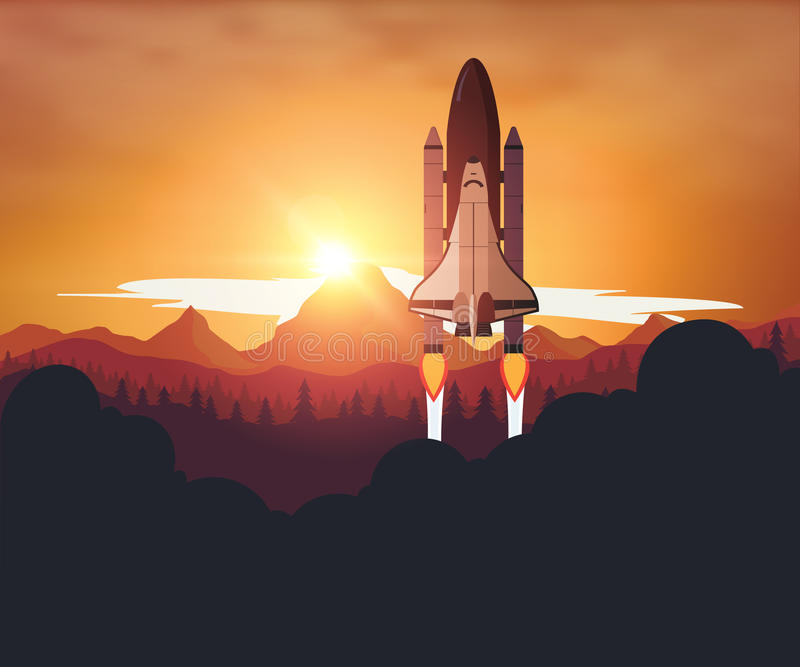 Space Shuttle with sunset background.  royalty free illustration
