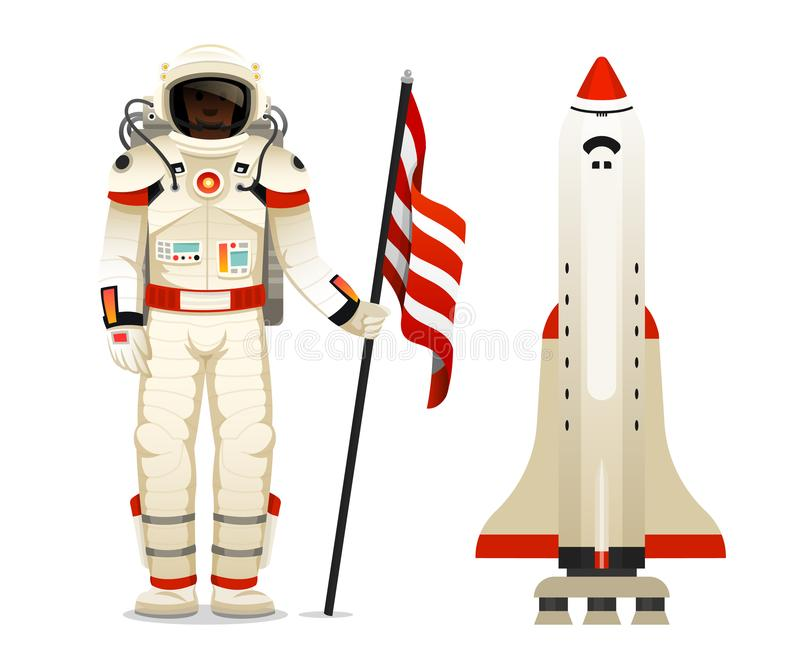 Space shuttle takes off. Astronomical astronaut or spaceman. exploration. flying ship for label, startup business. Rocket launching to the sky vector illustration
