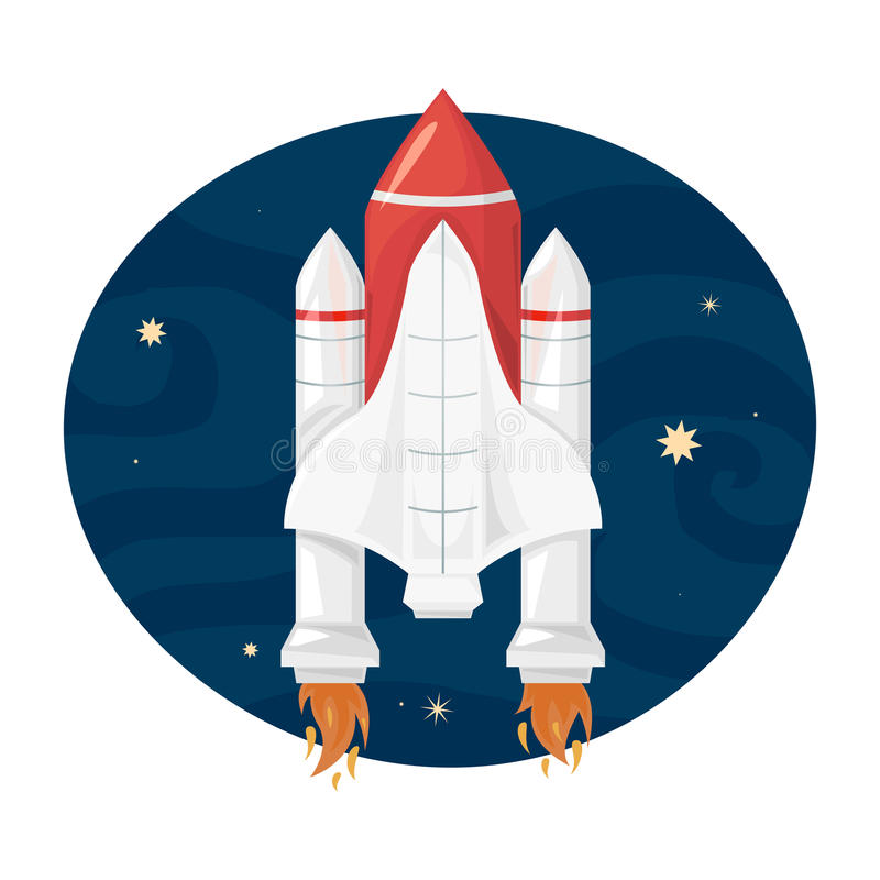 Space Shuttle takes off, vector illustration. Space Shuttle takes off into space, a beautiful print on a T-shirt for the fan astronomy, vector illustration royalty free illustration