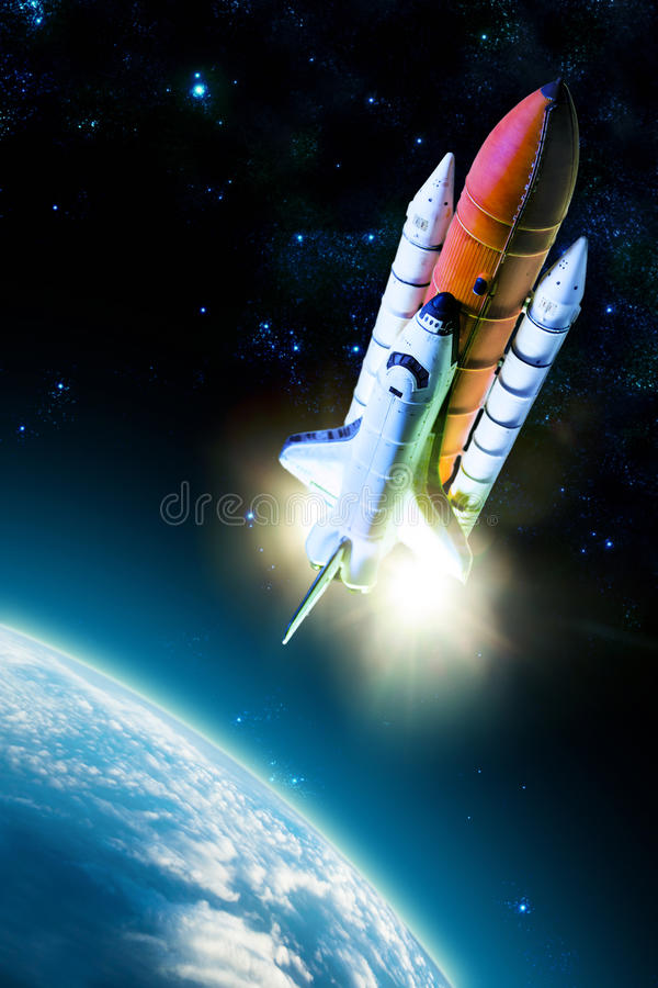 Space shuttle. Taking off on a mission royalty free stock photography