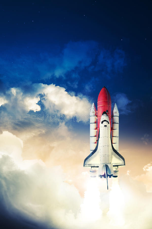 Space shuttle. Taking off on a mission royalty free stock image