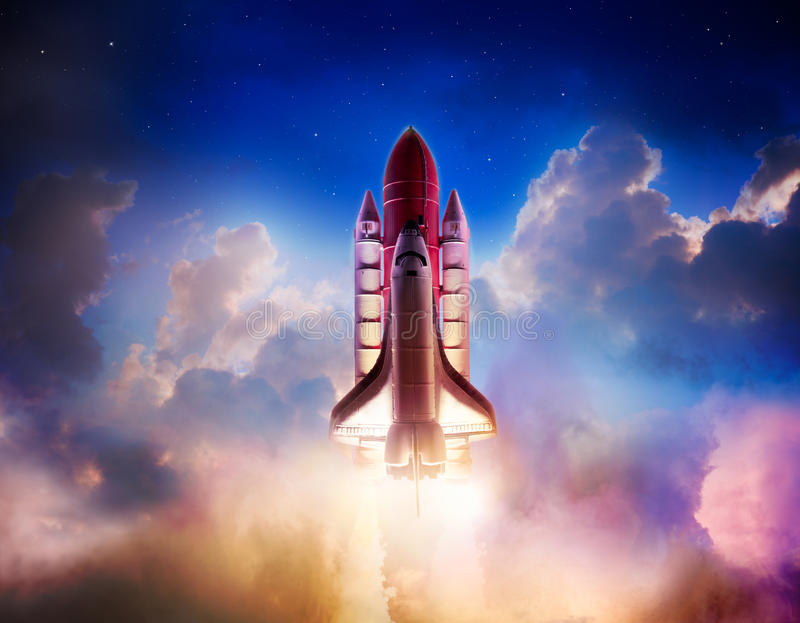 Space shuttle. Taking off on a mission stock image