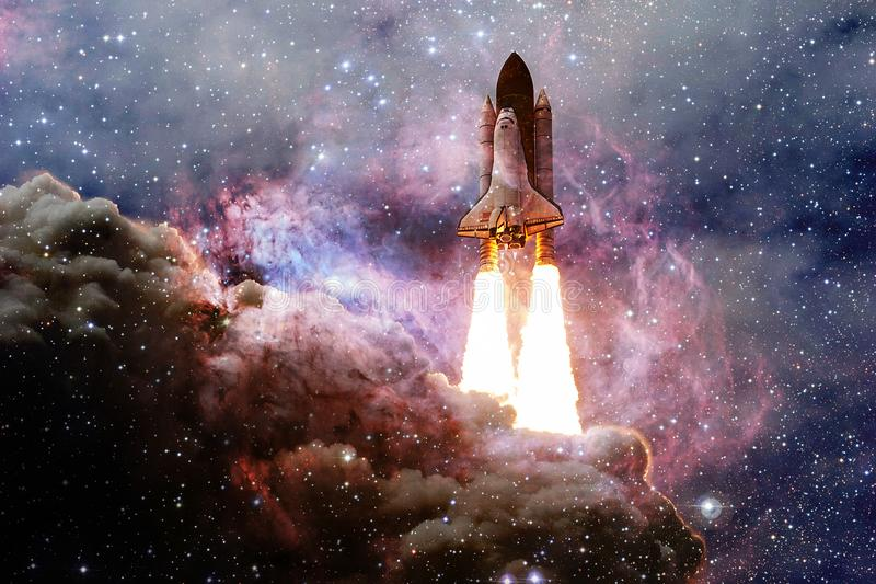 Space shuttle taking off on a mission. Deep space. Beauty of endless universe. Elements of this image furnished by NASA stock photo