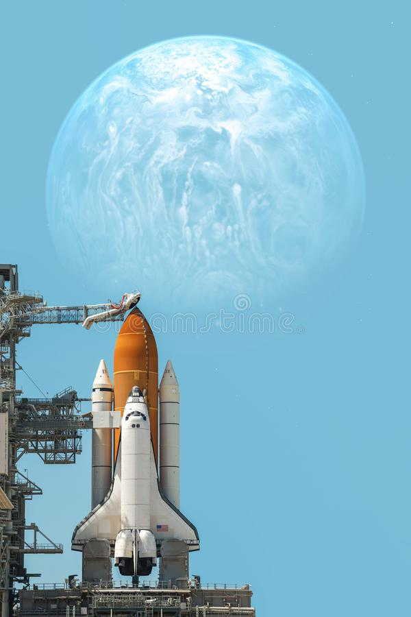 Space shuttle taking off on a mission. Elements of this image furnished by NASA royalty free stock images