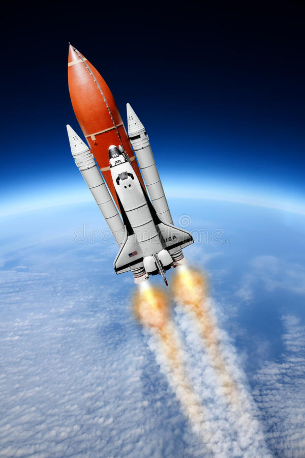 Space shuttle taking off to the sky ( NASA image not used ). Space shuttle taking off to the sky stock photos