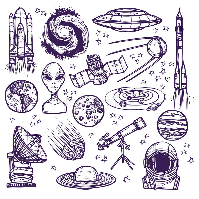 Space sketch set stock illustration