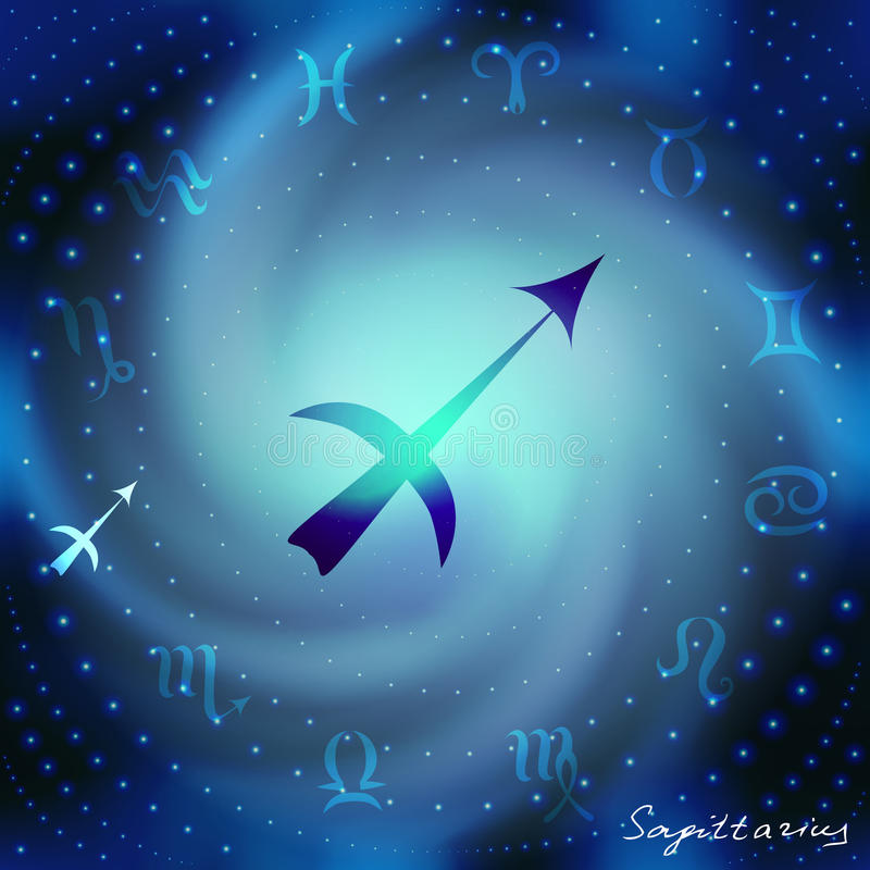 Space spiral with astrological Aquarius symbol royalty free illustration