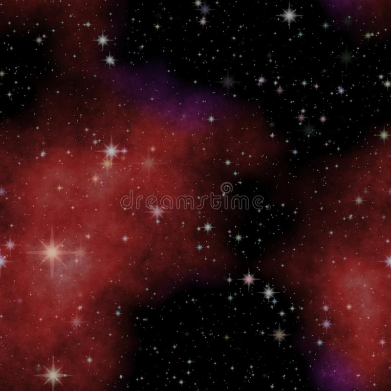 Space with star and red nebula stock illustration