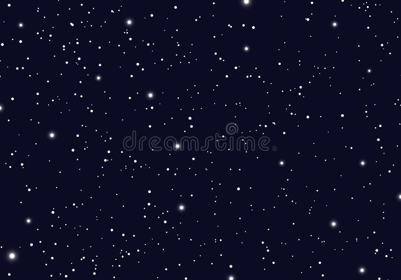 Space with stars universe space infinity and starlight background. Starry night sky galaxy and planets in cosmos pattern stock illustration