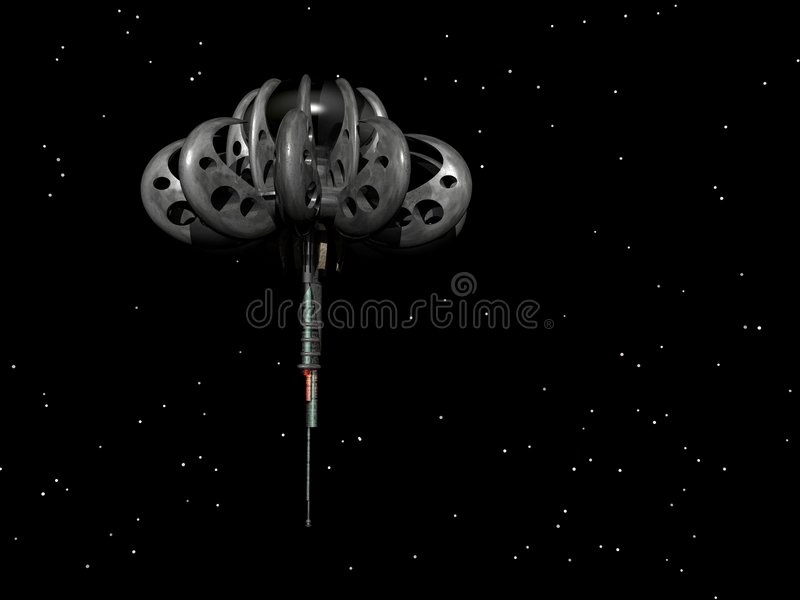 Space Station. In starry space vector illustration
