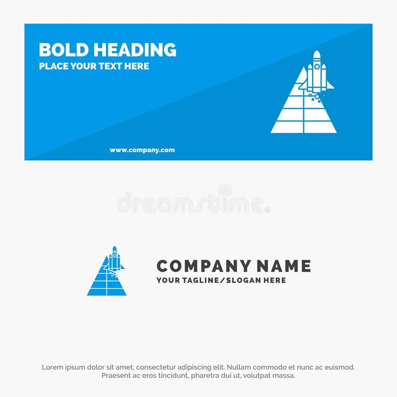 Space, Station, Aircraft, Spacecraft, Launch SOlid Icon Website Banner and Business Logo Template vector illustration