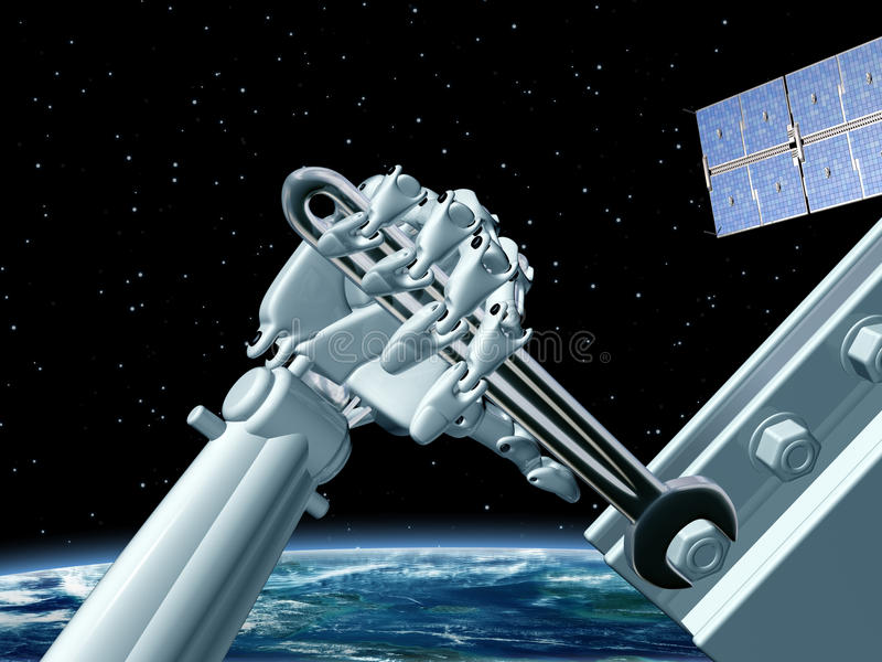 Download Space station maintenance stock illustration. Image of android - 20005328