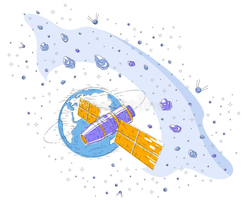 Space station orbiting around earth, spaceflight, spacecraft spaceship iss with solar panels, artificial satellite, under asteroid stock illustration