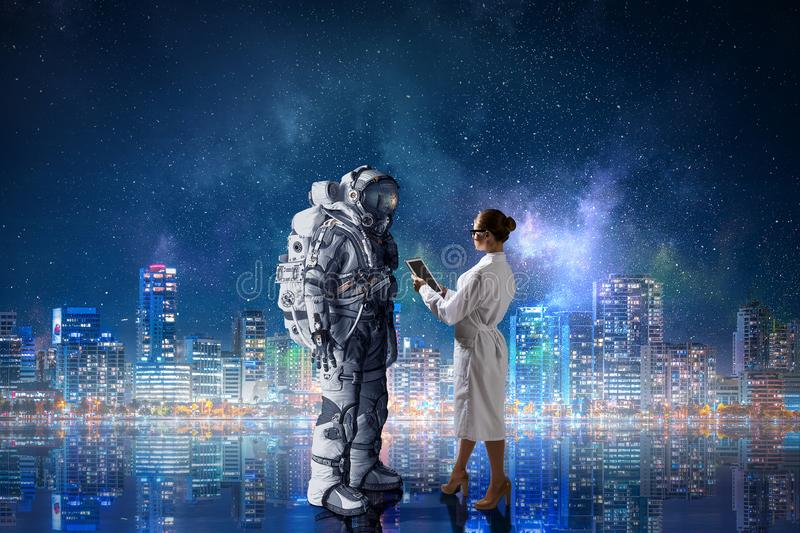 Space suit design. Mixed media stock image
