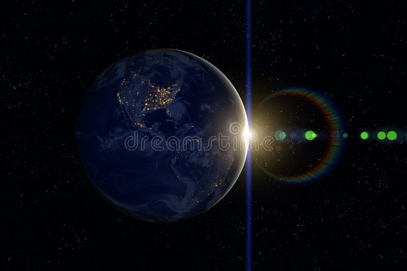 Planet Earth, Sun, Space. Sunset. royalty free stock images
