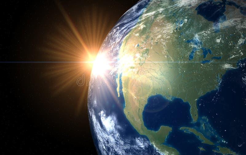 Space sunrise America stock photography