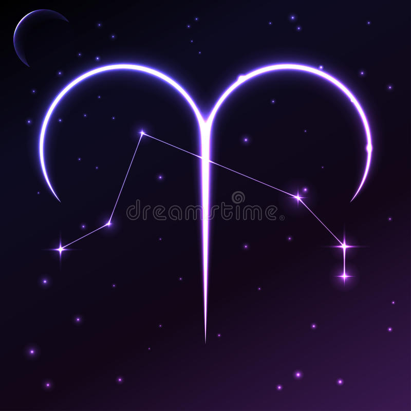 Space symbol of Aries of zodiac and horoscope concept, vector art and illustration. royalty free illustration