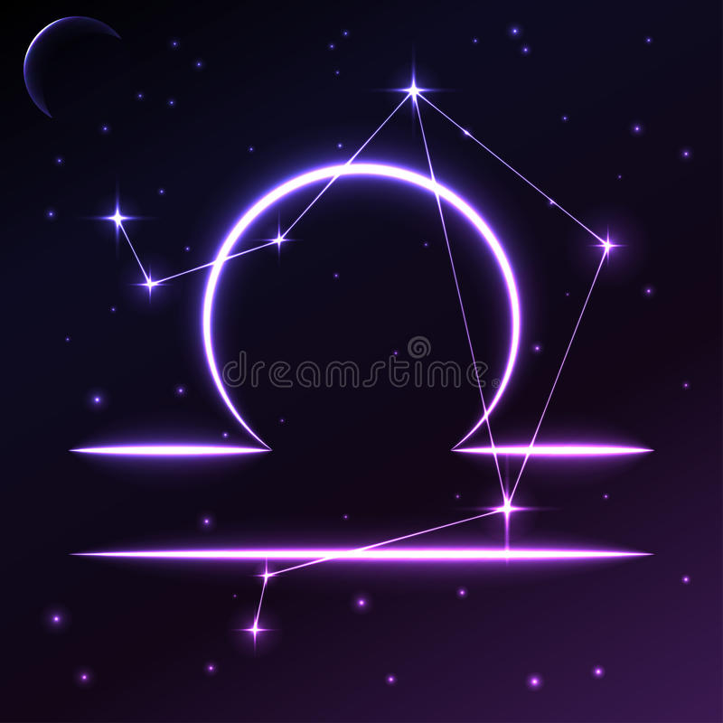 Space symbol of Libra of zodiac and horoscope concept, vector art and illustration. stock illustration