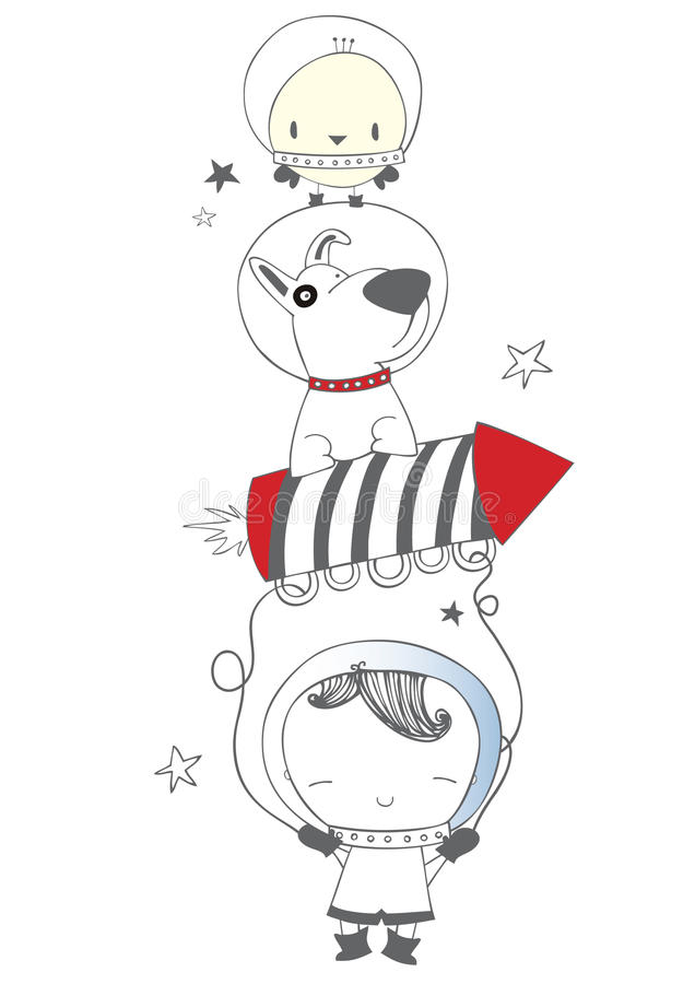 Download Space team stock illustration. Image of adorable, future - 33440275