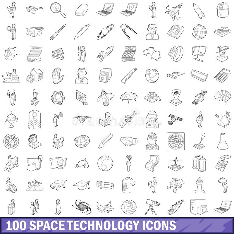 100 space technology icons set, outline style vector illustration
