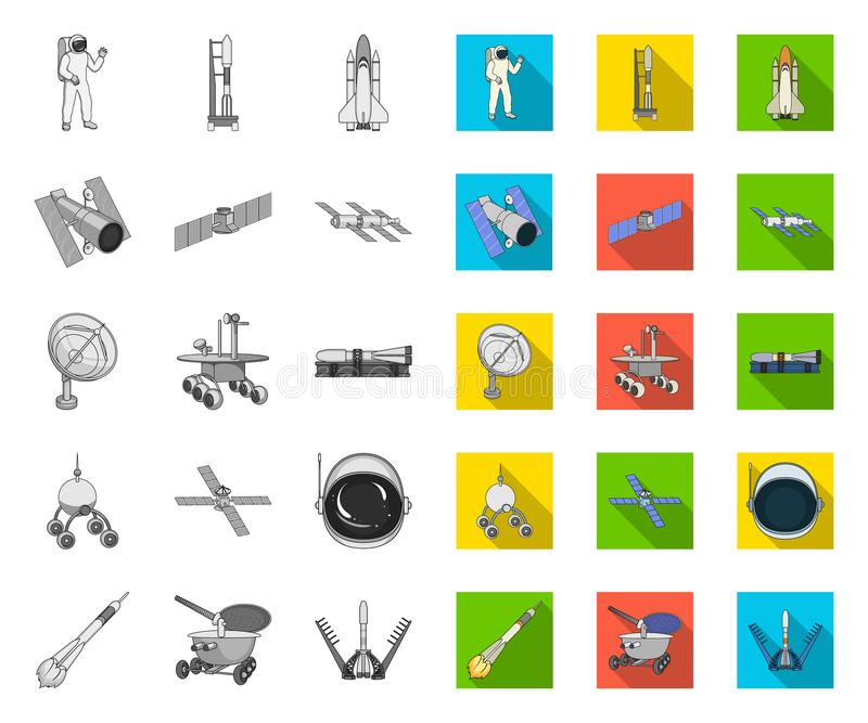 Space technology mono,flat icons in set collection for design.Spacecraft and equipment vector symbol stock web. Space technology mono,flat icons in set royalty free illustration