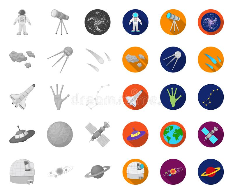 Space technology mono,flat icons in set collection for design.Spacecraft and equipment vector symbol stock web. Space technology mono,flat icons in set stock illustration