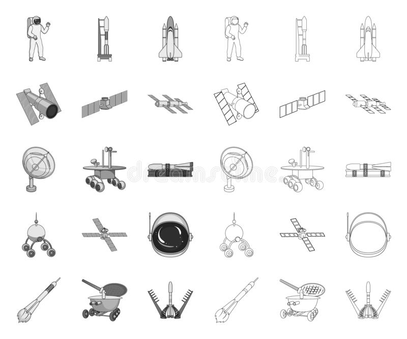 Space technology mono,outline icons in set collection for design.Spacecraft and equipment vector symbol stock web. Space technology mono,outline icons in set stock illustration