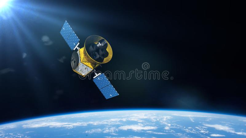 Transiting Exoplanet Survey Satellite TESS space telescope in orbit of planet Earth stock illustration