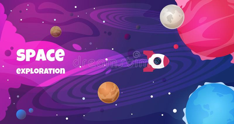 Space text background. Future galaxy shape science cartoon travel banner trip planet decoration. Vector cosmos flyer stock illustration
