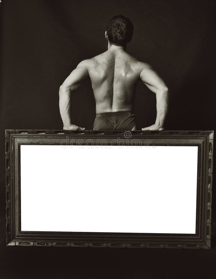 Space for text bodybuilder stock image