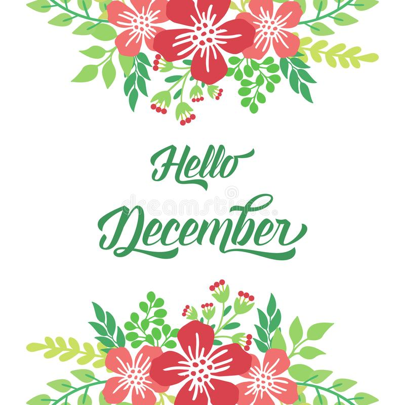 Space for text, hello december, with beautiful bright wreath frame. Vector royalty free stock images
