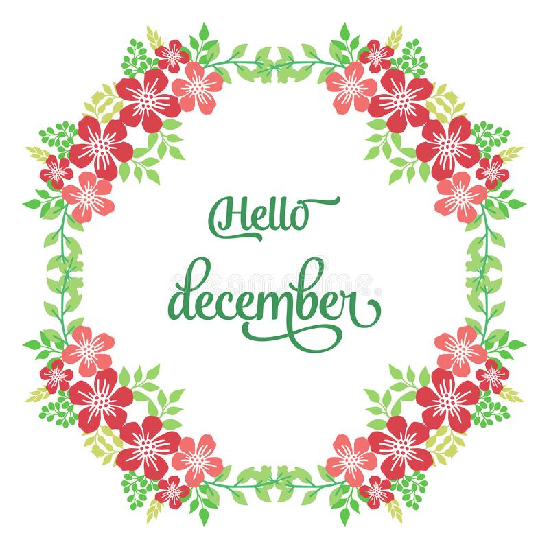 Space for text, hello december, with beautiful bright wreath frame. Vector stock photo