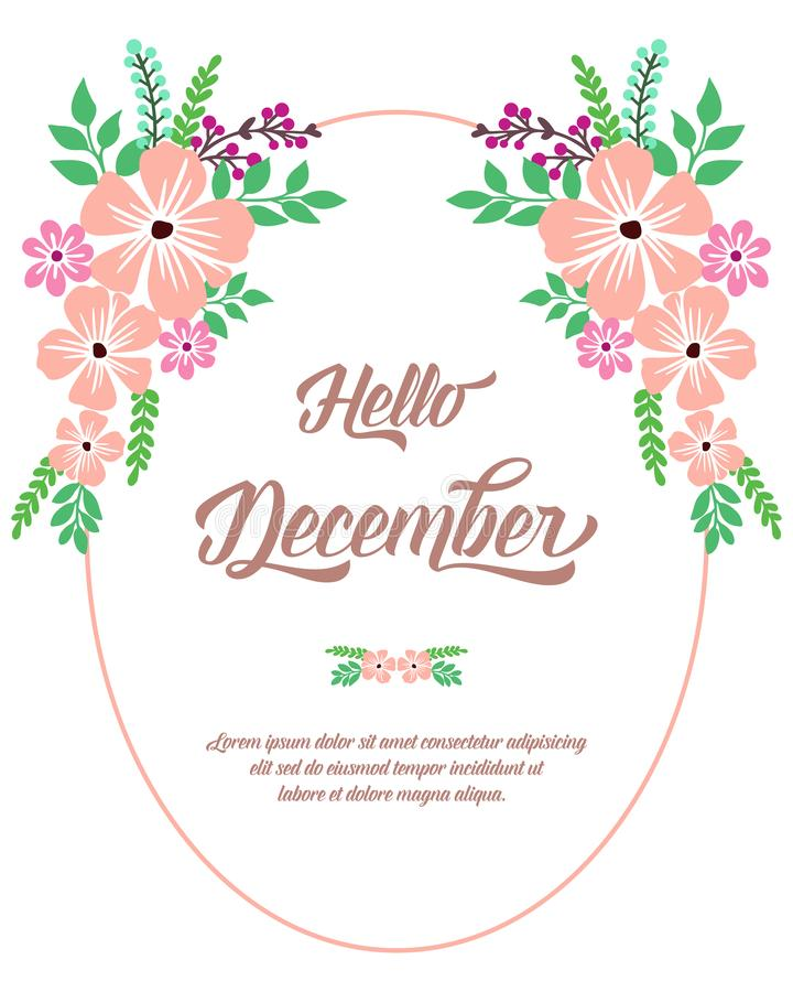 Space for text, hello december, with beautiful bright wreath frame. Vector royalty free stock photo