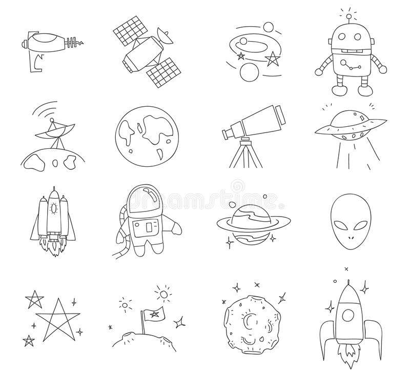 Space thin line icon cute hand drawn vector set art illustration vector illustration